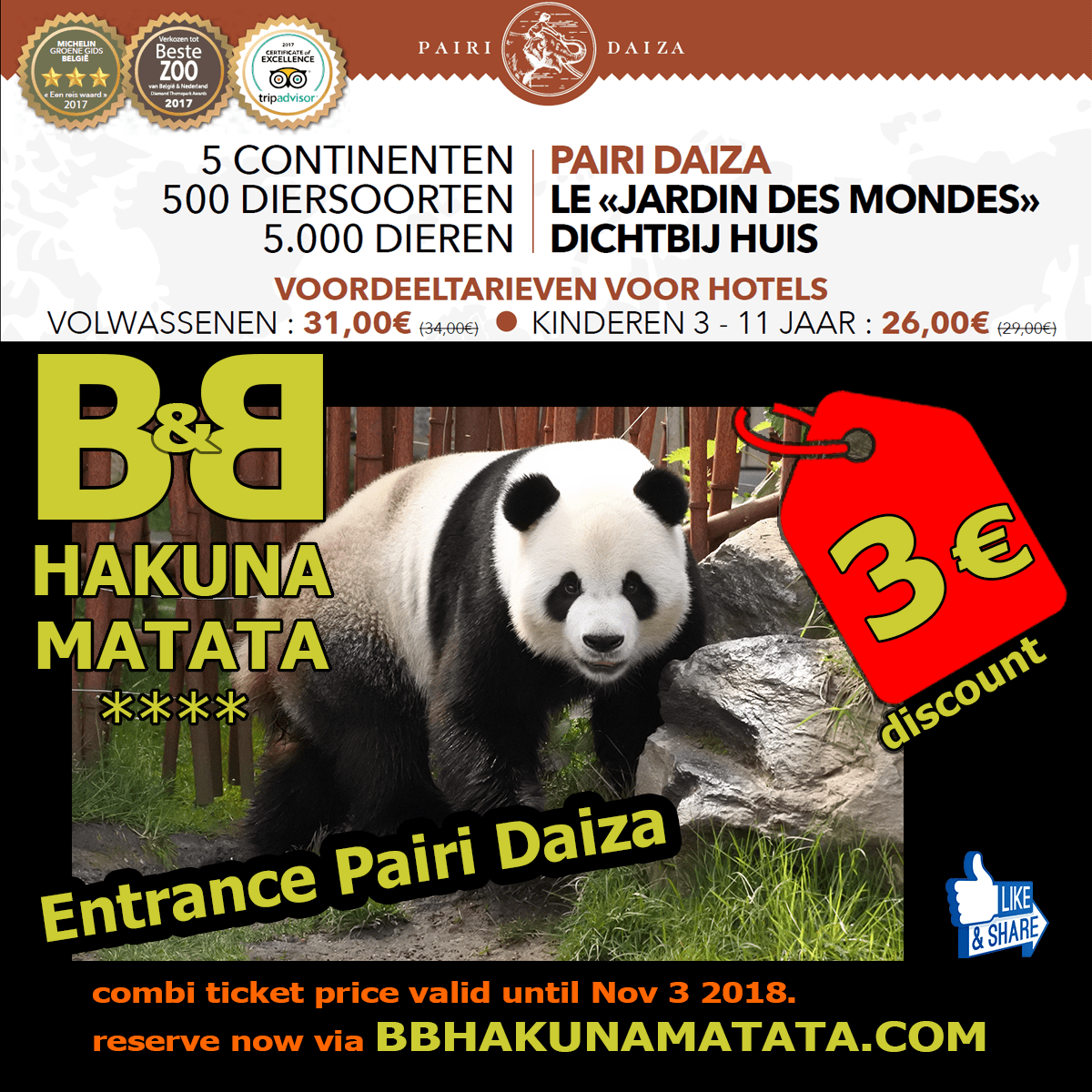 discount tickets Pairi Daiza 2018